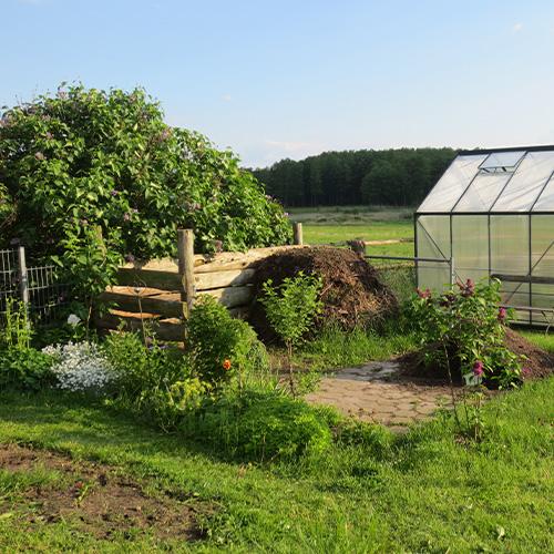 Kleingarten mit Gewächshaus